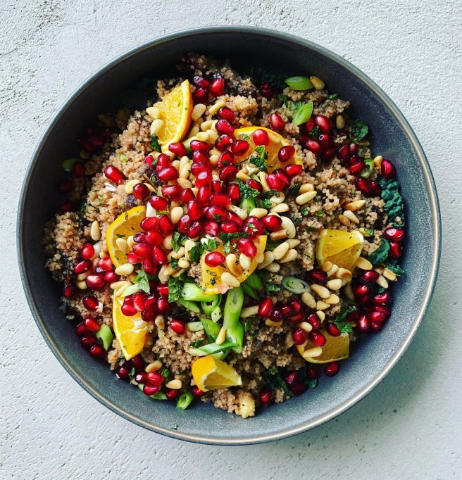 Dates and Pine Nuts Couscous with Pomegranate Vinaigrette