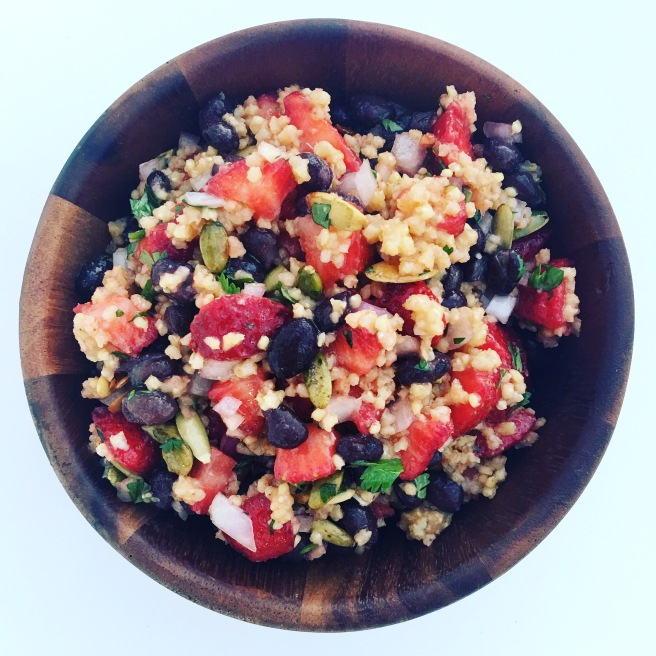 Strawberry, Black Bean, and Millet Salad | veganblondes.com