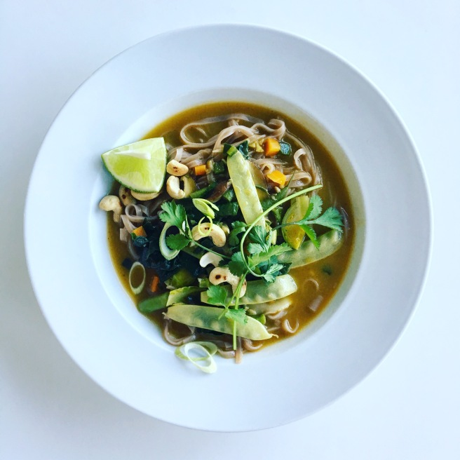 Asian-Inspired Soup of the Day with Pan-Seared Tofu and Brown Rice Noodles